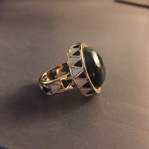 House of Harlow Gold & Black Statement Ring